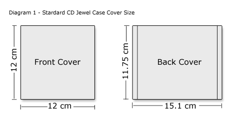 standard CD jewel case cover size illustration